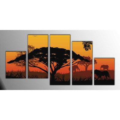 Afrika Manzarası Parçalı Tablo 150X75Cm