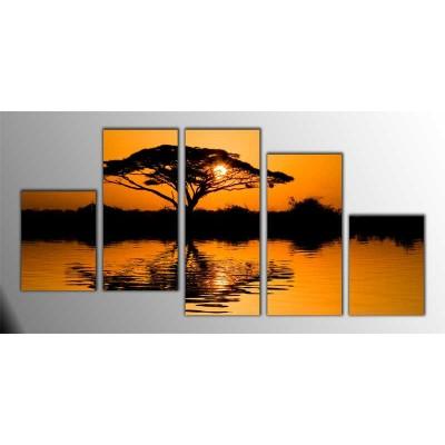 Afrikada Güneşin Doğuşu Parçalı Tablo 150X75Cm