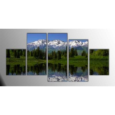Dağ Eteklerindeki Göl Parçalı Tablo 150X75Cm