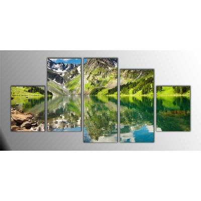 Dağ Manzarası Parçalı Tablo 150X75Cm