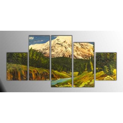 Dağ Ve Göl Manzarası Parçalı Tablo 150X75Cm