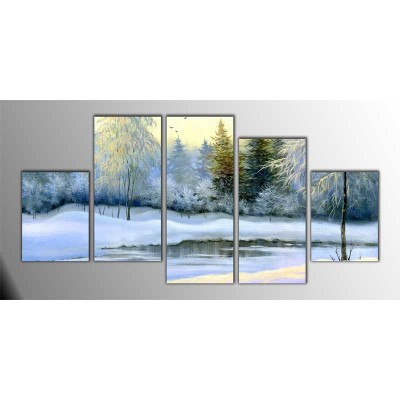 Kış Zamanı Donmuş Göl Parçalı Tablo 150X75Cm