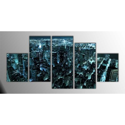 Manhattan Şehir Merkezi Amerika Parçalı Tablo 150X75Cm