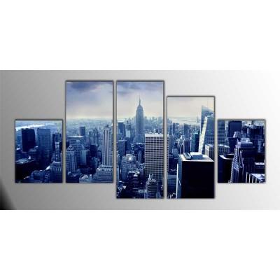 Manhattan Foggy Amerika Parçalı Tablo 150X75Cm