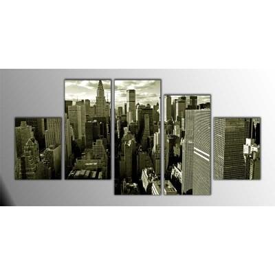 Manhattan Sepia Amerika Parçalı Tablo 150X75Cm
