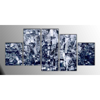 Manhattan Silver Amerika Parçalı Tablo 150X75Cm