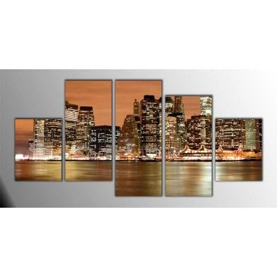Manhattan Amerika Parçalı Tablo 150X75Cm