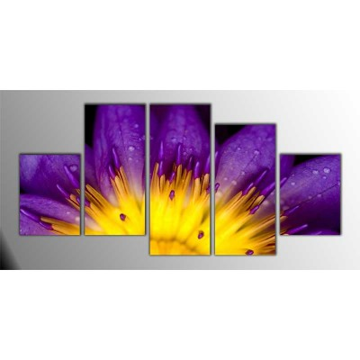 Mor Lotus Parçalı Tablo 150X75Cm