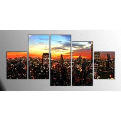 New York Şehir Merkezi Panoroma Parçalı Tablo 150X75Cm