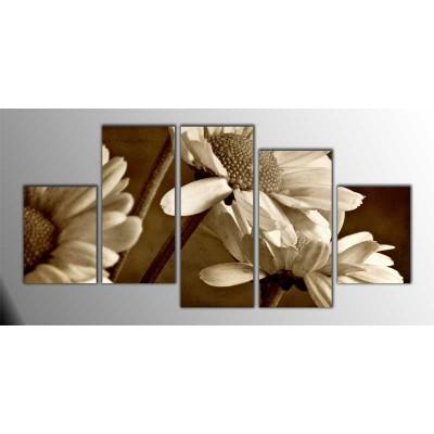 Siyah Beyaz Papatyalar Parçalı Tablo 150X75Cm