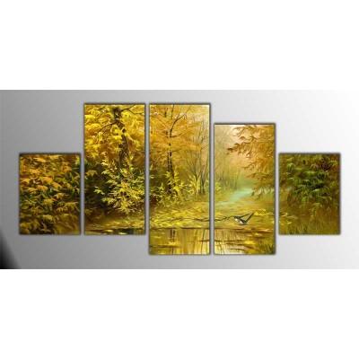 Sonbahar Zamanı Gölet Manzarası Parçalı Tablo 150X75Cm