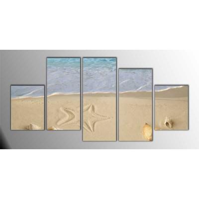 Turkuaz Karayip Denizi Parçalı Tablo 150X75Cm