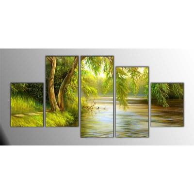 Yaz Zamanı Göl Manzarası Parçalı Tablo 150X75Cm