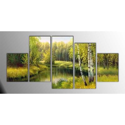Yeşil Göl Manzarası Parçalı Tablo 150X75Cm