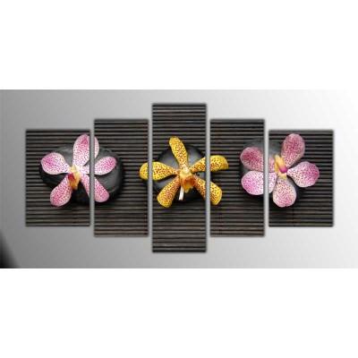 Üç Taş Ve Çiçek Parçalı Tablo 135X75Cm