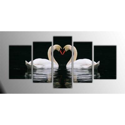 Aşık Kuğular Parçalı Tablo 135X75Cm