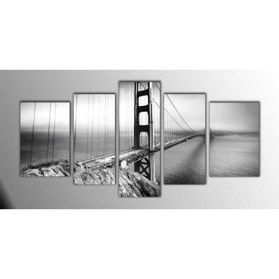 Golden Gate Siyah Beyaz Amerika Parçalı Tablo 135X75Cm