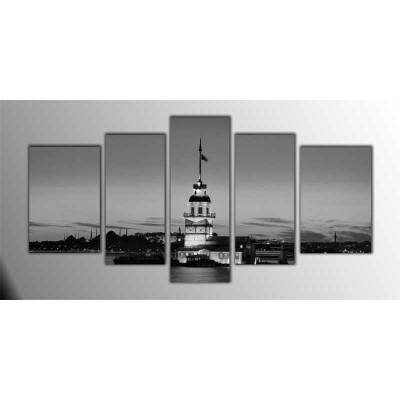 Kız Kulesi  B W Parçalı Tablo 135X75Cm