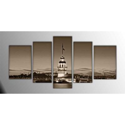Kız Kulesi  Sepia Parçalı Tablo 135X75Cm