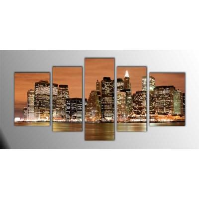 Manhattan İn Bronze Amerika Parçalı Tablo 135X75Cm