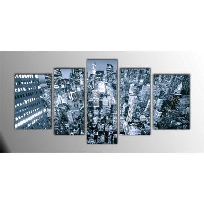 Newyorkcity Amerika Parçalı Tablo 135X75Cm
