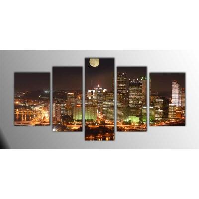 Pittsburgh Amerika Parçalı Tablo 135X75Cm