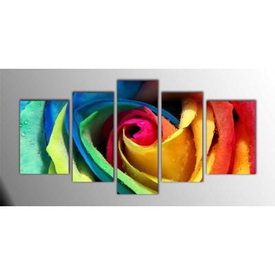 Rengarenk Gül Parçalı Tablo 135X75Cm