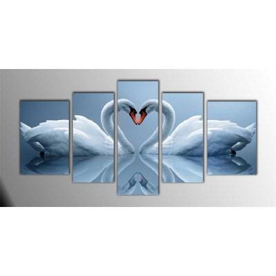 Swan Love Parçalı Tablo 135X75Cm