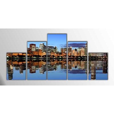 Gece Chicago Panoroma Parçalı Tablo 125X60Cm