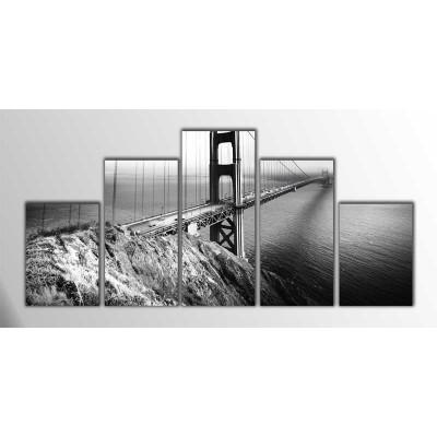 Golden Gate Siyah Beyaz Amerika Parçalı Tablo 125X60Cm