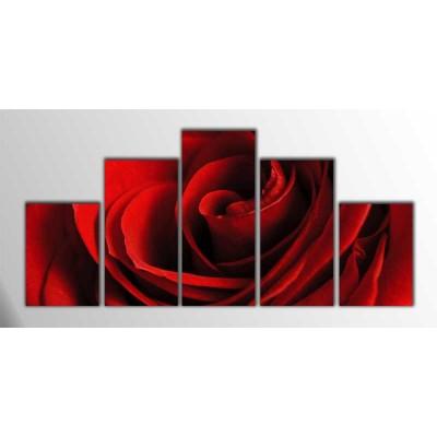 Kırmızı Gül Parçalı Tablo 125X60Cm