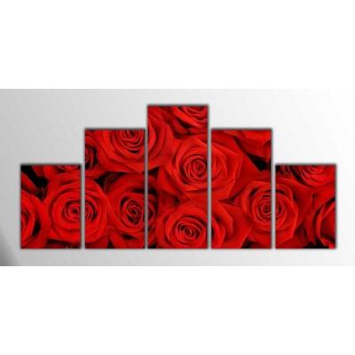 Kırmızı Güller Parçalı Tablo 125X60Cm