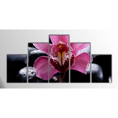 Pembe Feng-Shui Parçalı Tablo 125X60Cm
